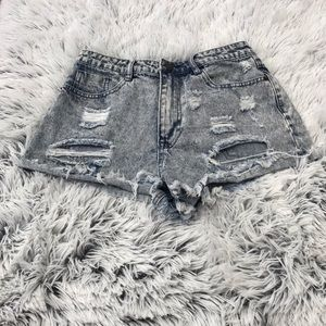 Forever 21 Shorts - Forever 21 Heavily Distressed Acid Wash Shorts